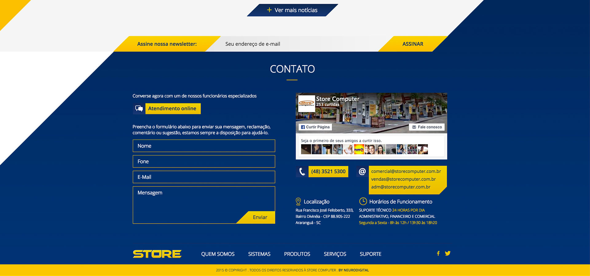 Contato site Store Computer by Neurodigital